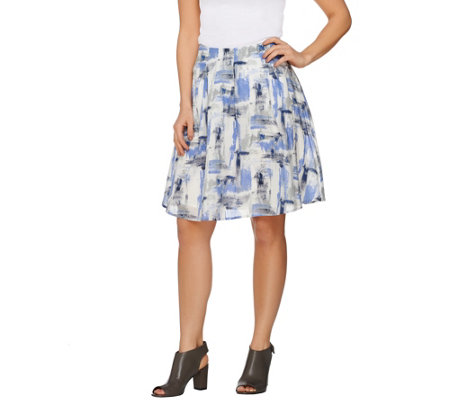 H by Halston Printed Skirt with Inverted Pleat Detail