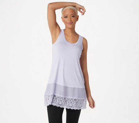 LOGO by Lori Goldstein Regular Knit Tank with Satin and Lace Trim
