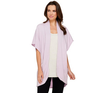 AnyBody Loungewear Cozy Knit Drape Front Wrap w/ Pockets - A275073