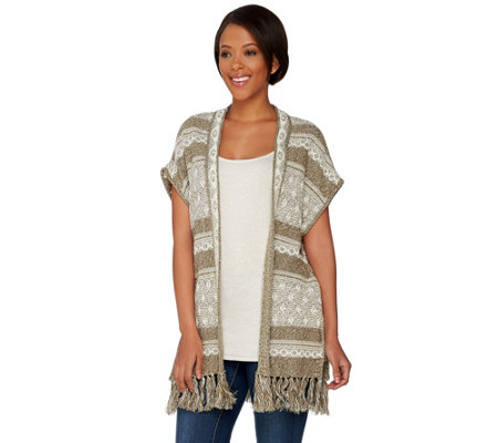 Studio By Denim & Co. Novelty Stitch Poncho with Fringe