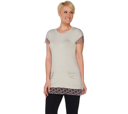 LOGO by Lori Goldstein Knit Top with Lace Trim and Pockets