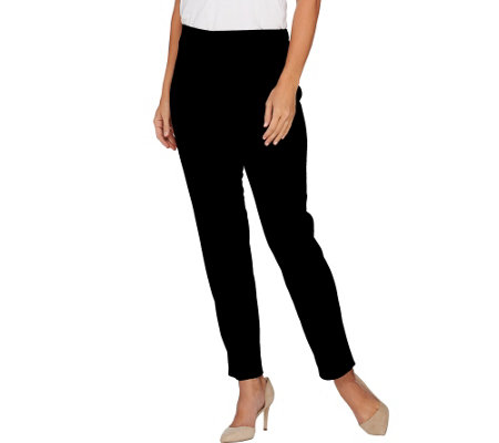 """As Is"" Susan Graver Milano Knit Comfort Waist Pull-On Ankle Pants"
