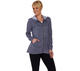 LOGO Lounge by Lori Goldstein French Terry Hoodie with Chambray Back - A276773