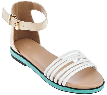 LOGO by Lori Goldstein Ankle Strap Footbed Sandals
