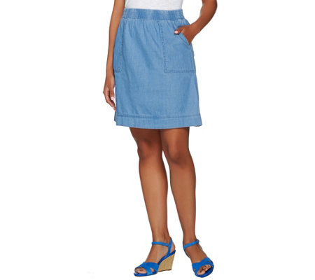 Isaac Mizrahi Live! TRUE DENIM Pull-on Skirt with Pockets