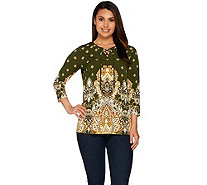 Susan Graver Printed Liquid Knit 3/4 Sleeve Tunic with Lacing Trim - A278873