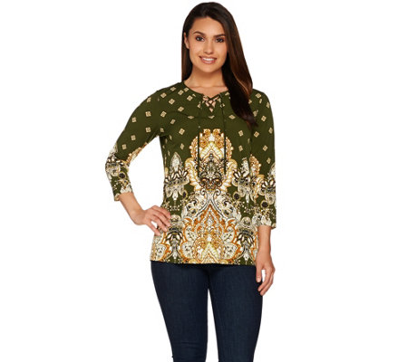 Susan Graver Printed Liquid Knit 3/4 Sleeve Tunic with Lacing Trim