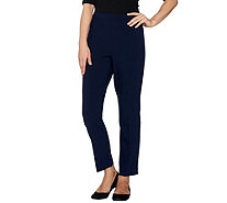 Susan Graver City Stretch Comfort Waist Side Zip Slim Ankle Pants - A279773