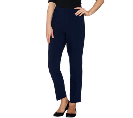 Susan Graver City Stretch Comfort Waist Side Zip Slim Ankle Pants
