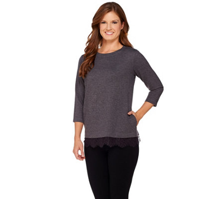 """As Is"" LOGO Lounge by Lori Goldstein French Terry Scoop Neck Top"