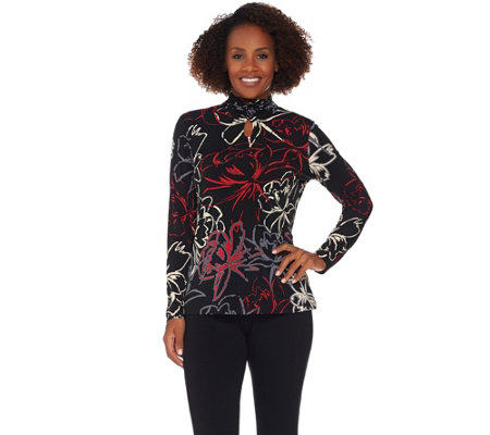 Susan Graver Printed Liquid Knit Long Sleeve Turtleneck