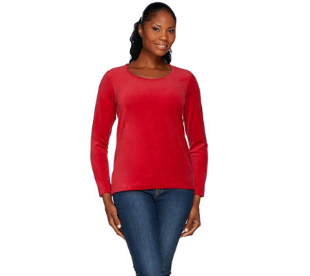 """As Is"" Denim & Co. Velour Long Sleeve Scoop Neck Top"