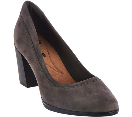 Clarks Leather Block Heel Pumps - Araya Moon