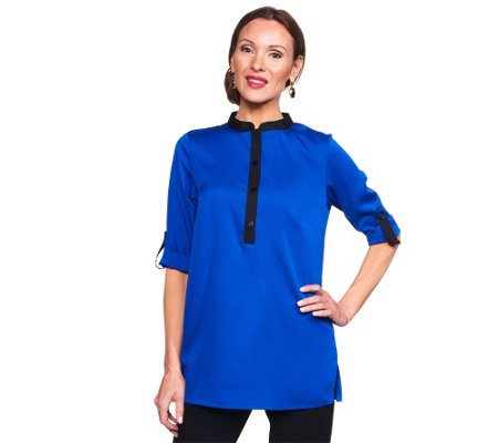 """As Is"" Joan Rivers Modern Chic Blouse with Contrast Trim"