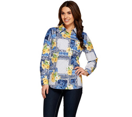 """As Is"" Susan Graver Printed Stretch Cotton Button Front Shirt"