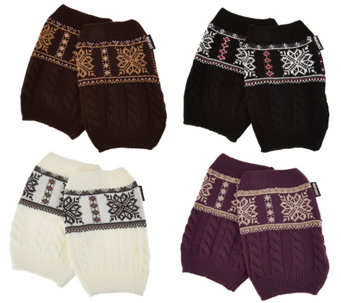 MUK LUKS Set of 4 Pairs Reversible Knit Boot Cuffs - A283273