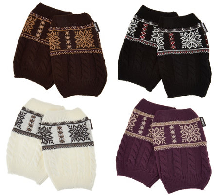 MUK LUKS Set of 4 Pairs Reversible Knit Boot Cuffs