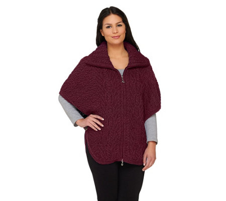 """As Is"" Aran Craft Merino Wool Zip Front Cape"