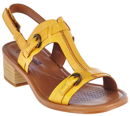 """As Is"" Clarks Leather Block Heel T-Strap Adj. Sandals - Reida Madalyn"