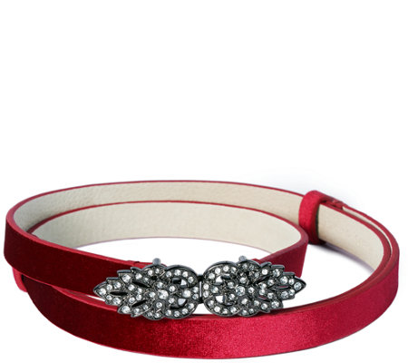 Isaac Mizrahi Live! Velvet Belt with Crystal Buckle