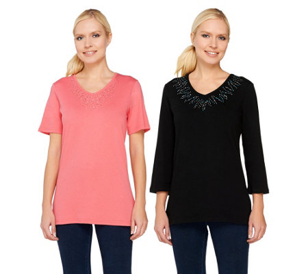 """As Is"" Quacker Factory Set of 2 Super Sparkle V-neck T-shirts"