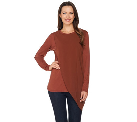 Lisa Rinna Collection Long Sleeve Knit Top with Chiffon Overlay