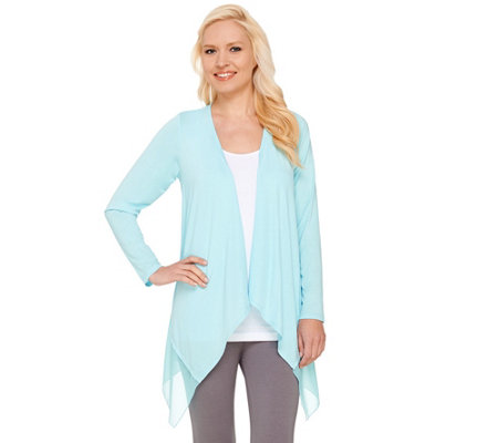 """As Is"" Joan Rivers Jersey Knit and Chiffon Draped Cardigan"