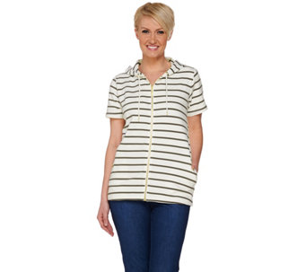 """As Is"" Denim & Co. Actve Striped Short Sleeve Jacket w/ Hood - A286773"