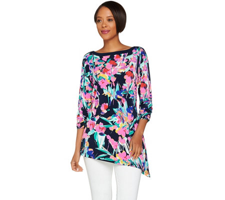 """As Is"" Susan Graver Printed Liquid Knit Asymmetrical Hem Tunic"