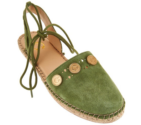 """As Is"" C. Wonder Suede Espadrilles w/ Coin Detail - Michaela"