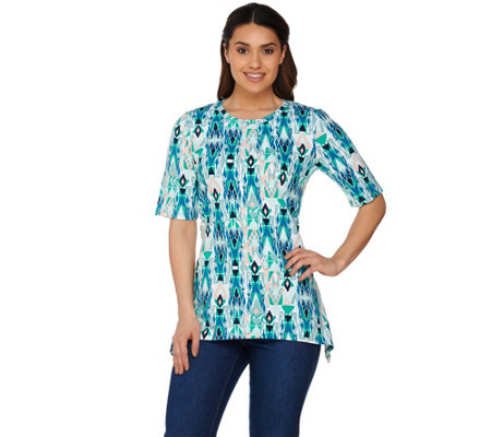 """As Is"" Denim & Co. Geometric Printed Elbow Sleeve Trapeze Top"