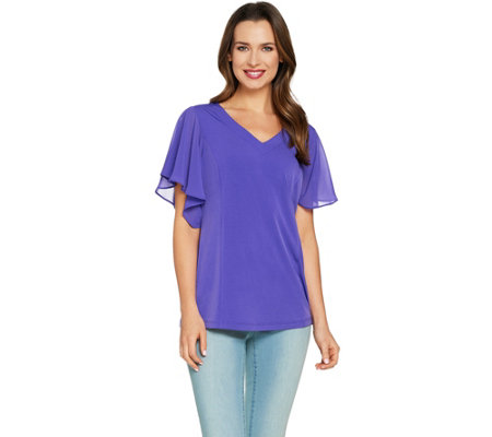 Susan Graver Liquid Knit Top with Sheer Chiffon Flutter Sleeves