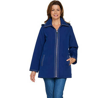 Dennis Basso Water Resistant Jacket with Striped Lining - A289173