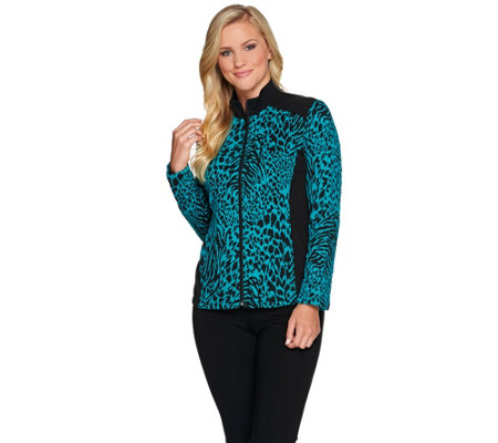 """As Is"" Susan Graver Weekend Jacquard Knit Jacket with Terry Trim"