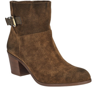 """As Is"" Franco Sarto Suede Ankle Boots w/ Side Buckle - Monument - A289873"