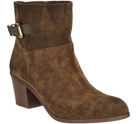 """As Is"" Franco Sarto Suede Ankle Boots w/ Side Buckle - Monument"