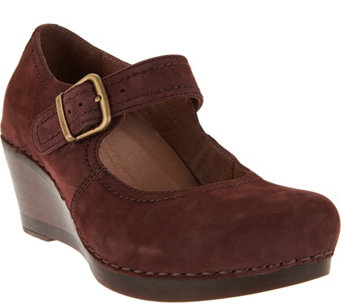 """As Is"" Dansko Suede Wedge Mary Janes - Sandra - A290373"