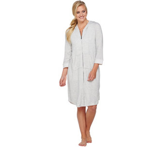 """As Is"" Carole Hochman French Terry Zip Robe with Hood - A292673"