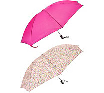 Revers-A-Brella Set of 2 Compact Auto Open Umbrellas - A293873