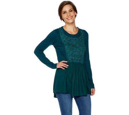 LOGO by Lori Goldstein Embroidered Cotton Slub Peplum Top