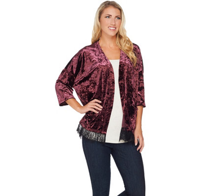 """As Is"" LOGO by Lori Goldstein Panne Velvet Kimono with Lace Hem"