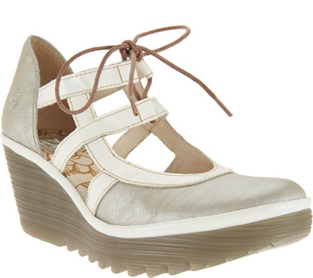 """As Is"" FLY London Leather Wedges with Tie Detail - Yett"