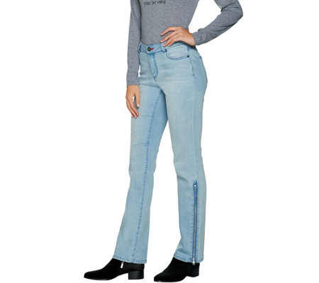 Peace Love World Boot Cut Denim Jeans with Side Zip Detail