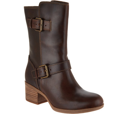 Clarks Artisan Leather Mid Calf Boots with Buckles - Maypearl Oasis
