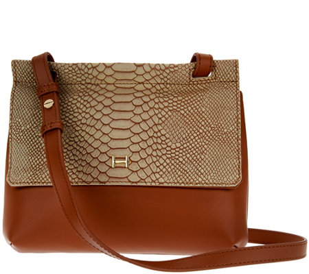 """As Is"" H by Halston Snake Embossed & Smooth Leather Crossbody Bag"