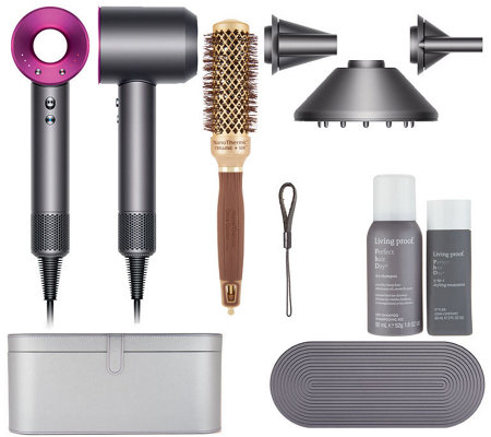 Dyson Supersonic Hair Dryer w/ Olivia Garden, Living Proof & Case