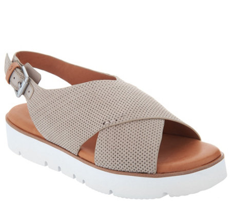 Gentle Souls Leather Cross Band Sandals - Kiki