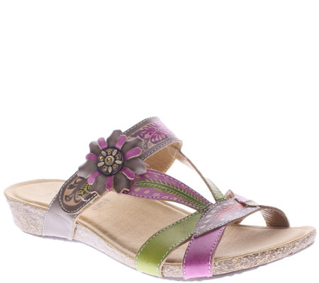 Spring Step L'Artiste Leather Slide Wedge Sandals - Wilma