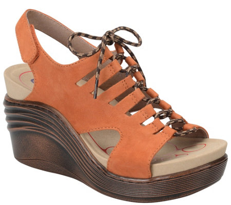 Bionica Lace-up Leather Wedge Sandals - Sirus