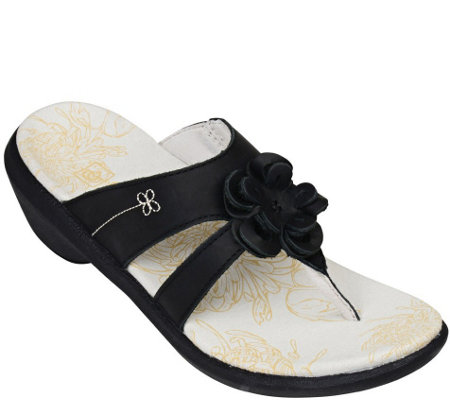 Spenco Leather Thong Sandals - Rose